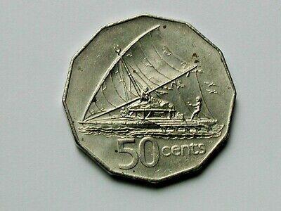 Camakau Fijian sailing boat UNC Fiji 50 cents coin 2012 Varivoce Fish