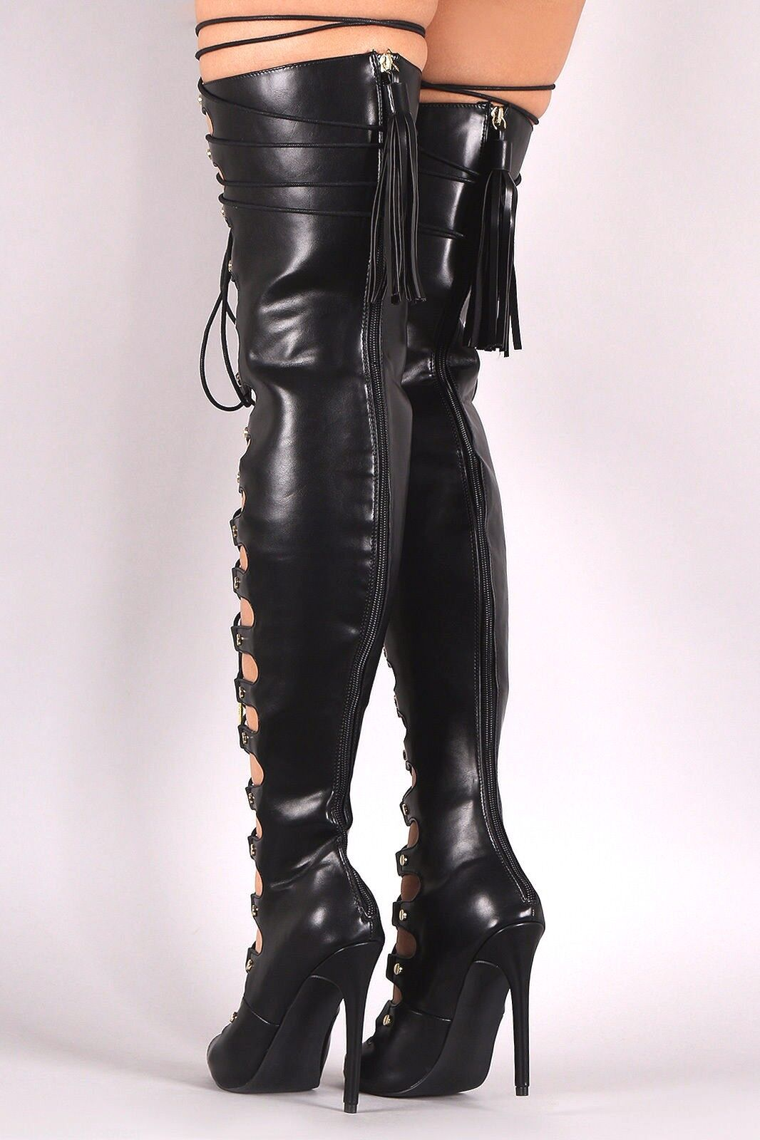 Nelly Bernal Maneater Black Black Black Adjustable Lace Up Thigh High Boot 4.75  Heel 6-11 88d972