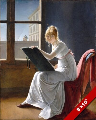 YOUNG WOMAN GIRL ARTIST DRAWING FINE ART PAINTING REAL CANVAS GICLEE 8X10PRINT