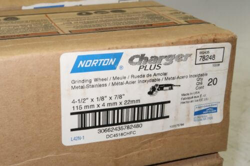 """20 NORTON Charger 4-1//2/"""" x 1//8/"""" x 7//8/"""" Grinding Wheel Discs Stainless 78248 USA"""