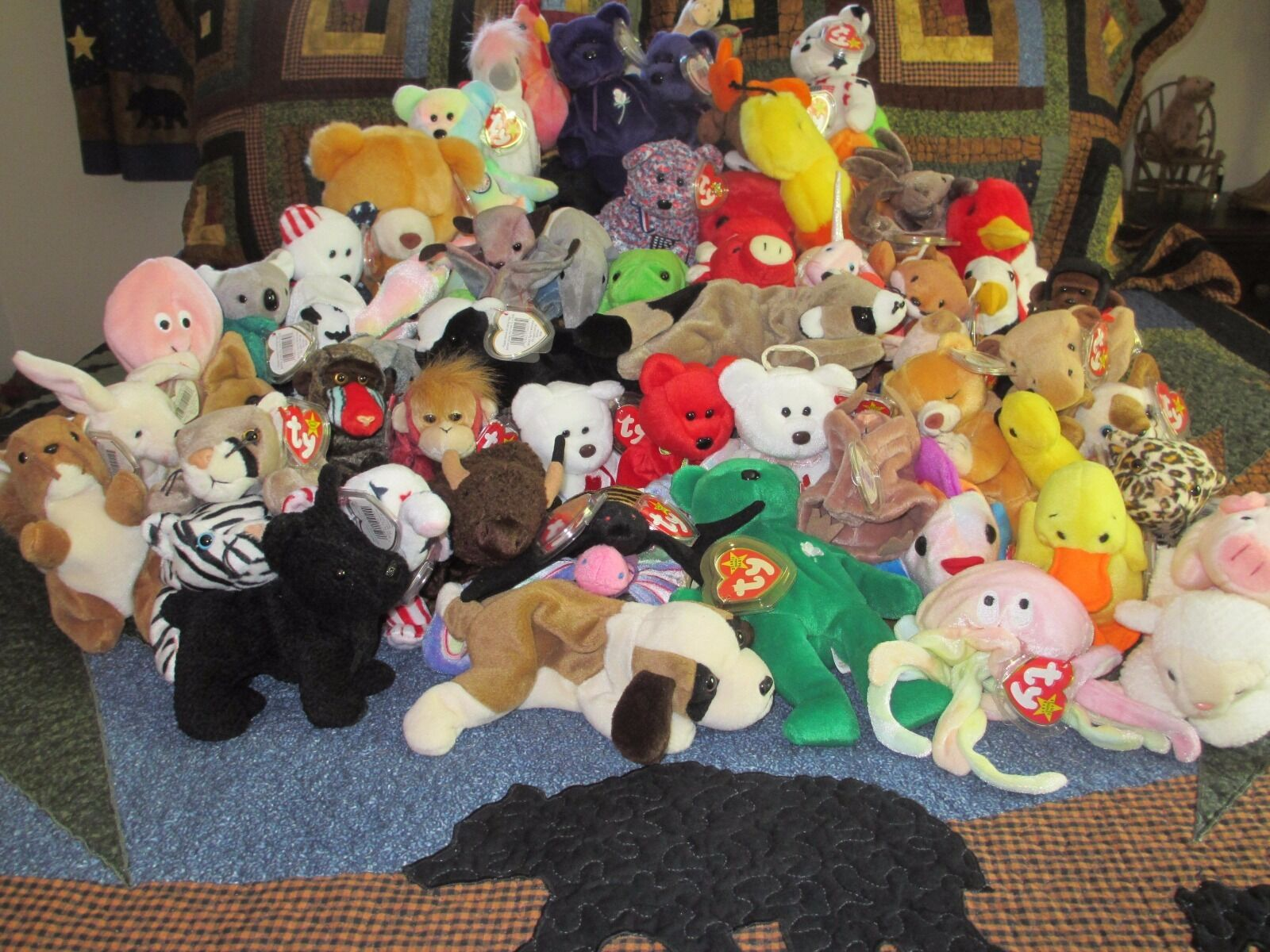 RARE Beanie Baby Buddy LOT of 62 ALL RETIRED Many with Errors - Collection
