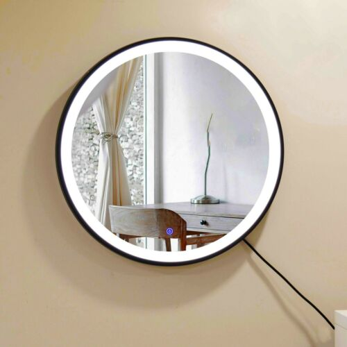 Wall Mount Round Mirror With Dimmable LED Light,Anti-fog And Waterproof Design