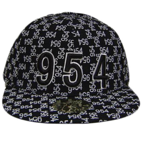 Buy Broward 954 Black White Flat Bill Fitted Cap Hat Small online  53224361c96