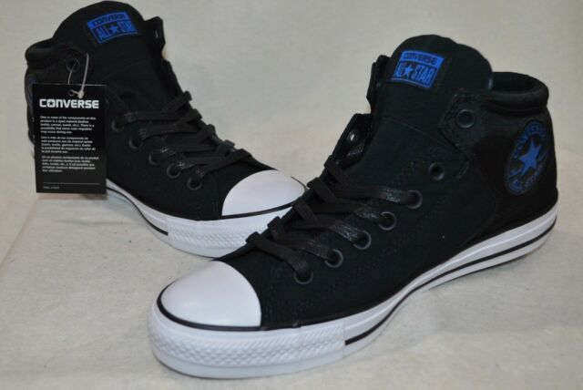 f835a29223fd Converse Men s Chuck Taylor High Street Black Wht Blue Hi-Top Sneakers-