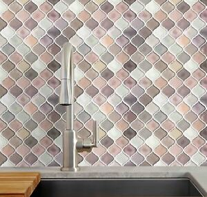 self stick backsplash tiles kitchen 10 pack self adhesive wall tile arabesque pink peel and 7887