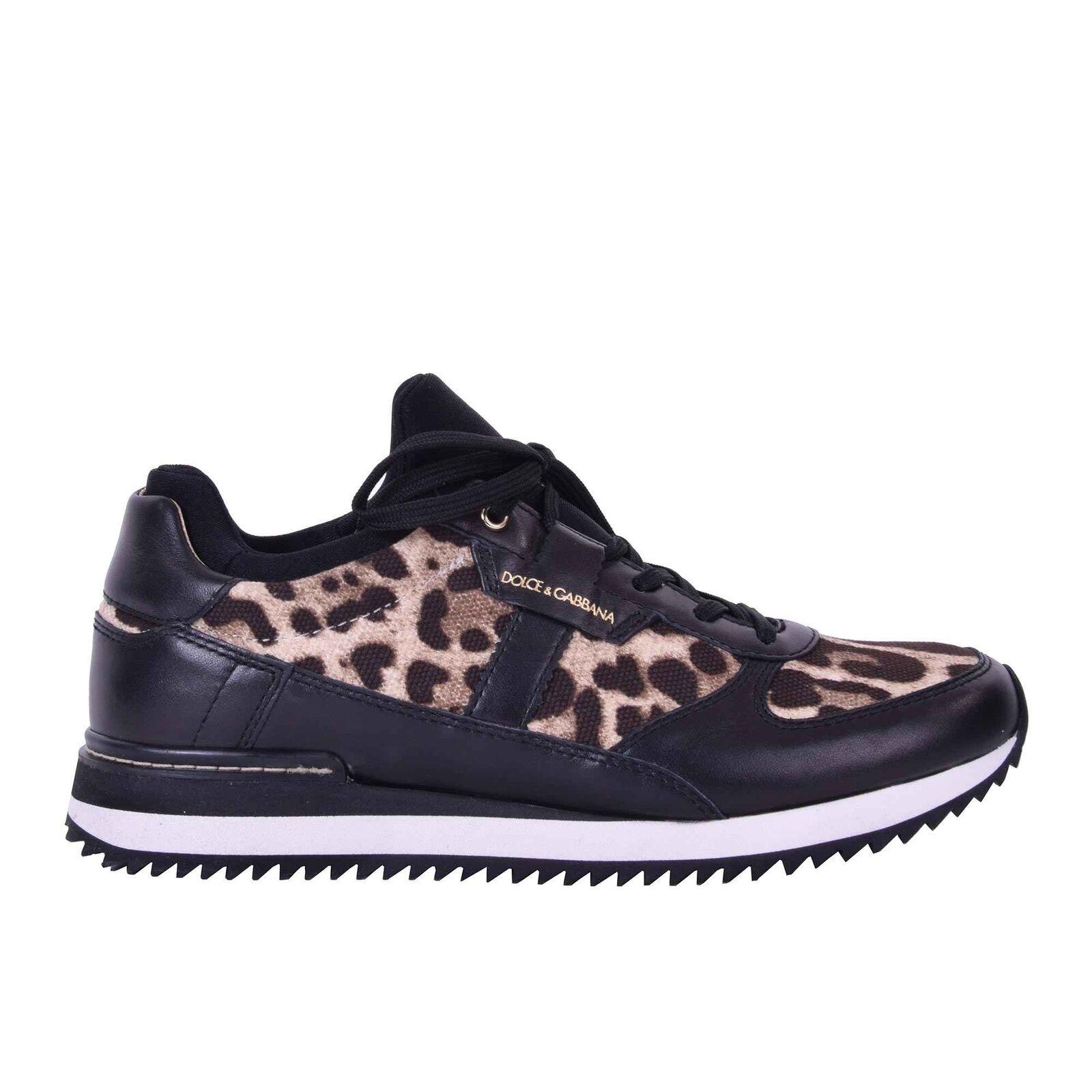 Dolce & Nigeria GABBANA Sneakers Donna Scarpe Sneaker Nigeria & Leopard Nero 05921 606aab