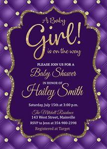 Image Is Loading Baby Shower Invitation Purple Gold Princess