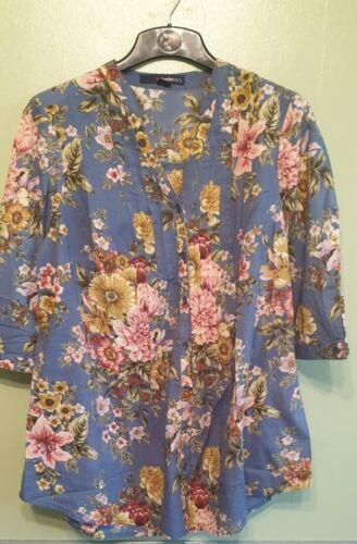 Roaman Denim 4//7  light Prairie Floral Print Pleat Tunic Shirt 14,16,18,20,22