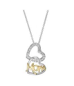 a8e9c5babdb Image is loading MACYS-Diamond-Interlocking-Mom-Heart-Pendant-18k-Gold-