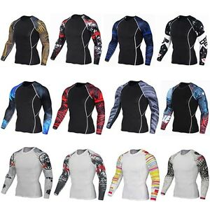 Comfortable-Mens-Tight-Skin-Compression-Running-Top-MMA-Rash-Guard-Shirts-S-4XL