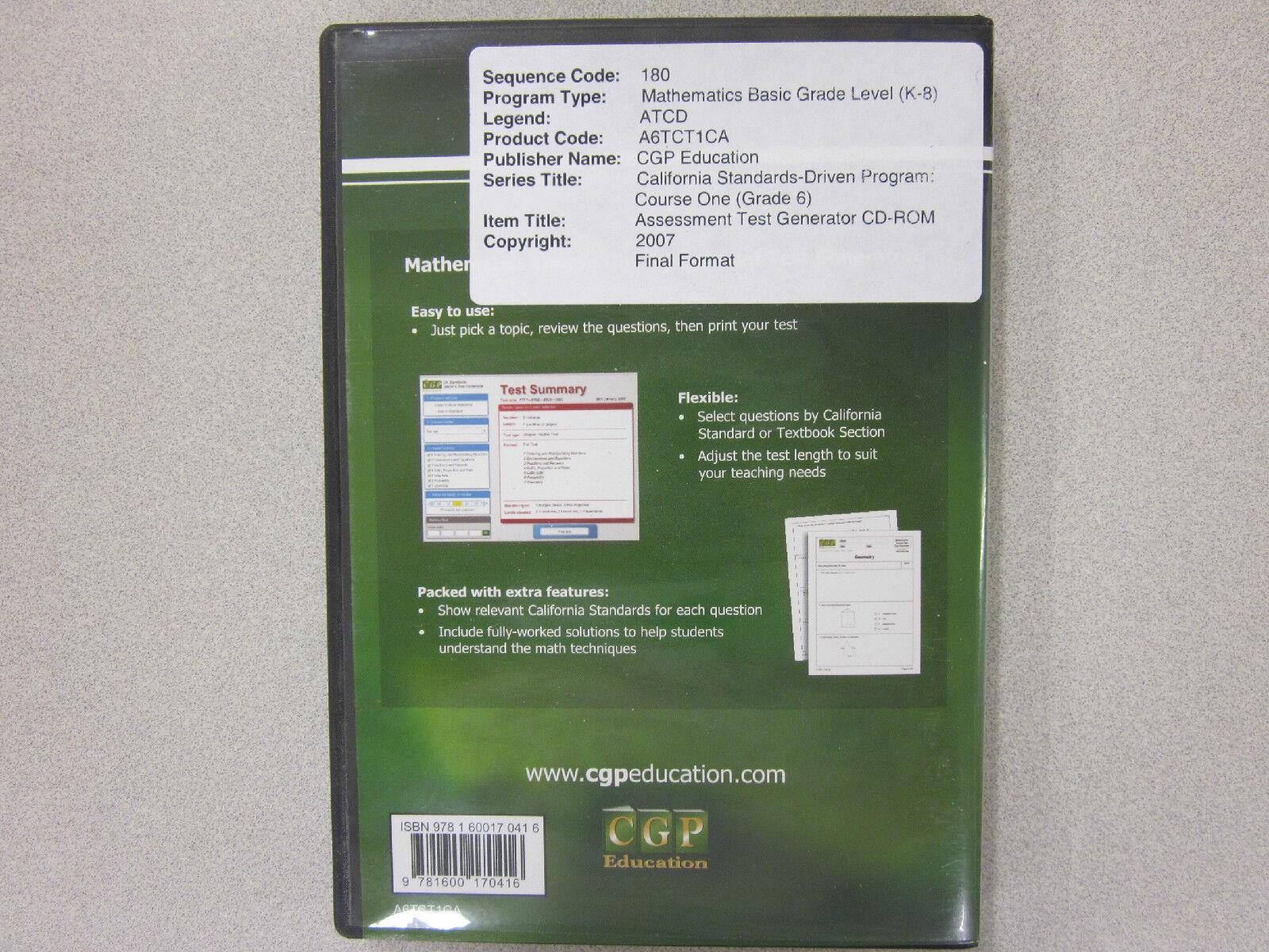 CGP California Mathematics Course One Assessment Test Gen Cd-rom 1600170412