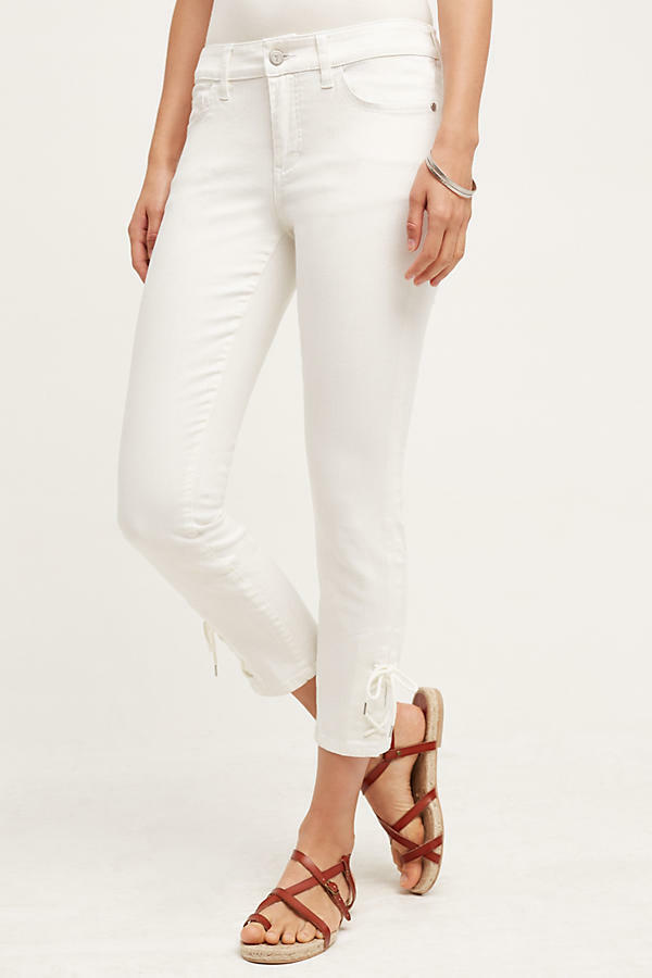 NWT Anthropologie Pilcro Stet Lace-Up Mid-Rise Jeans - White, size 32