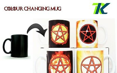 PENTACLE CHANGING COLOUR MUG WITH TEXT Wiccan emblematic pentagram protection