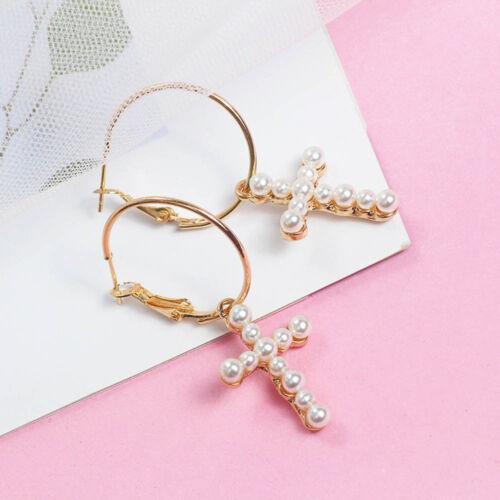 Girl Trendy Temperament Cross Drop Earrings Pearl Hook Earring Geometric Jewelry