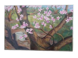 Original Peach Blossom Painting Large Framed Signed CA San Joaquin Valley Art