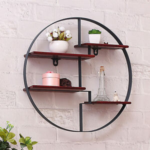 retro round wood industrial style wall mounted shelf rack storage rh ebay co uk Metal Wall Mounted Shelves Industrial Pipe Wall Shelves