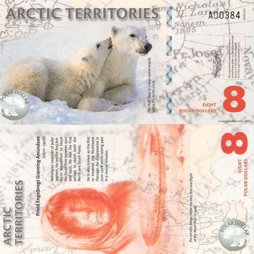 Polar Bear ARCTIC TERRITORIES 11 NOTE SET of Polar Dollars Fun-Fantasy Note +