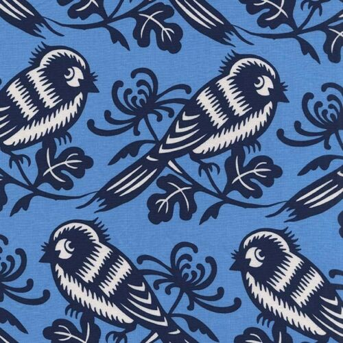 By 1//2 Yard  Michael Miller Cotton Bird Fabric Seedling Chirp Sky Thomas Paul