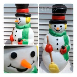 36-Empire-Frosty-Snowman-Lighted-Christmas-Blow-Mold-Carrot-Broom-Scarf-GREAT
