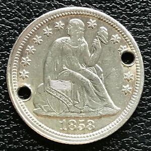 1858-Seated-Liberty-Dime-10c-AU-UNC-Det-Holed-13363