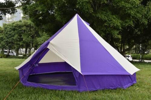 5M Purple Colour Bell tent 5 Meter 5M ZIG 10 person CAMPING Mesh Door Vents