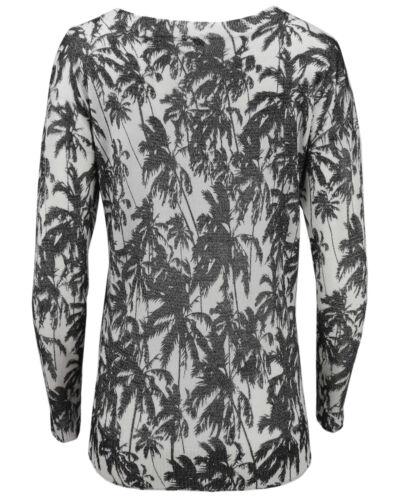 KHUJO Damen Marken Oversize Pullover NICOLA Strick-Shirt langarm Top Palmen NEU