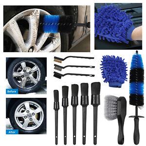11pcs Wheel Tire Brush Car Detailing Tool Kit Wash Mitt for Cleans Dirty Tires
