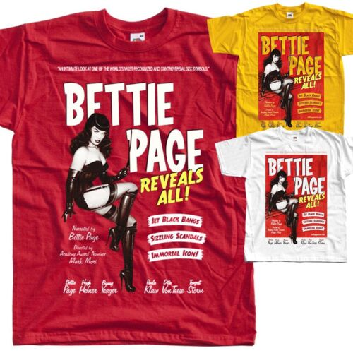 poster T SHIRT all sizes S to 5XL Bettie Page Reveals All