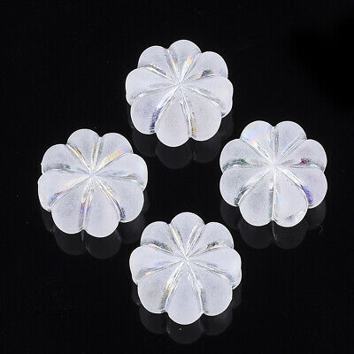 100pcs Transparent Acrylic Flower Beads Frosted Mini Loose Spacer Beads 10x5mm