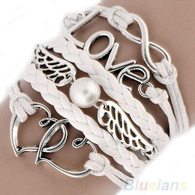 Fancy Womens Leather Cute Infinity Love Heart Wings Charms Bracelet DIY Hot BJ4U