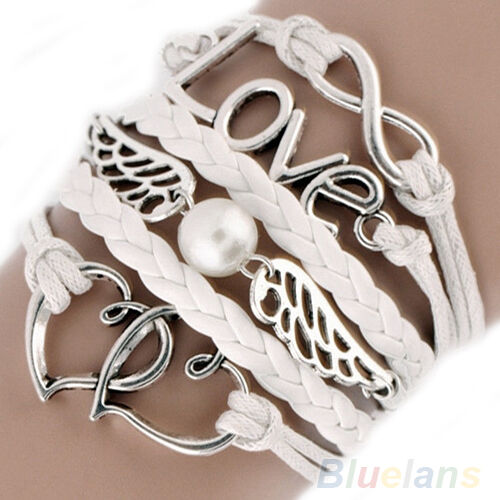 Fashion Jewelry Leather Cute Infinity Love Heart Wings Charms Bracelet DIY B54U