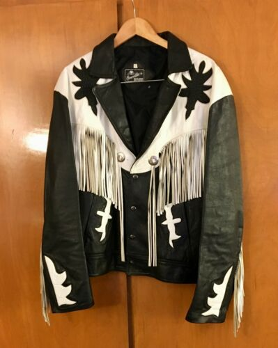 Men's Leather Jacket Fringed Black & White Made In