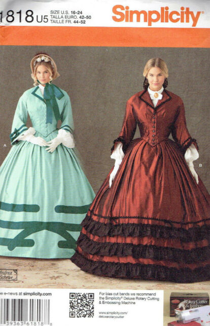 Civil War Era Costume Misses size 16-24 Simplicity 1818 Sewing Pattern