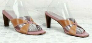 Cole-Haan-Pink-Brown-Woven-Leather-Open-Toe-Heels-Slide-Sandals-Size-8-5-B-B328