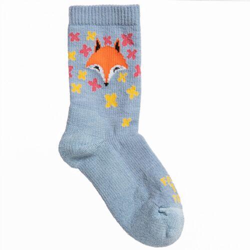 Farm to Feet Merino Wool Cute Girls Boys Kids Fox Socks Blue Fog Medium or Large