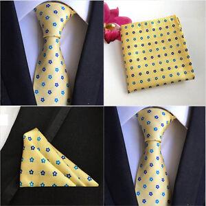 Hommes-mode-jaune-fleur-soie-cravate-poche-carre-mouchoir-set-lot-HZ078