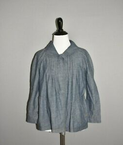 KIM-ROGERS-NEW-40-Blue-Denim-Pleated-Swing-Jacket-Coat-PS-Petite-Small