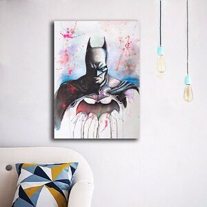 Image Is Loading Watercolor Batman Stretched Canvas Prints Framed Wall Art