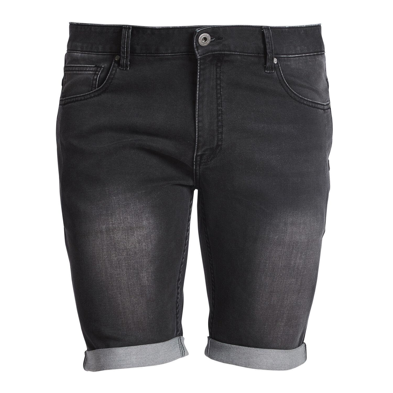 Übergrößen super stretch Jeans shorts von Replika in black von W40 bis W62