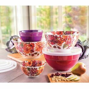 Melamine-10-Piece-Mixing-Bowl-Set-Harvest-Floral-Assorted-Sizes-with-Lids-NEW