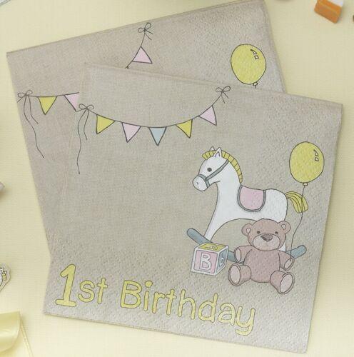 20 ROCK A BYE BABY 1st BIRTHDAY NAPKINS Beverage Baby Tableware Rocking Horse