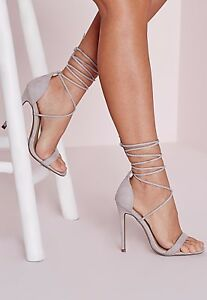 97501f6fd3 Image is loading MISSGUIDED-Lace-up-barely-there-heeled-sandals-grey-