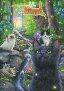 ACEO BLACK CAT FAIRY KITTENS FIREFLIES WATERFALL GARDEN BLUE HYDRANGEAS PAINTING