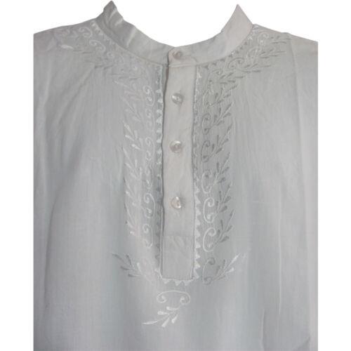 Men/'s Indian Yoga Mandarin Collar Gauze Cotton Embroidered Tunic Shirt Kurta