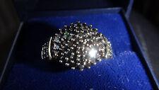 9ct Oro Giallo & 1.00ct BLACK DIAMOND CLUSTER ANELLO TAGLIA K 1/2