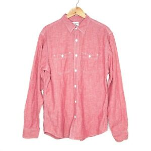 Old-Navy-Mens-Long-Sleeve-Button-Up-Shirt-Size-Large-Red