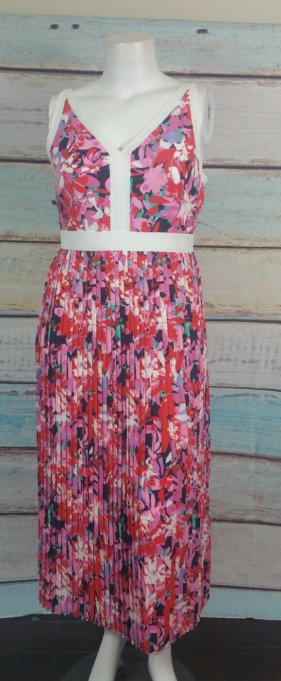 Katherine Kelly Pink White Red bluee Floral Pleated Empire Waist Maxi Dress Sz 12