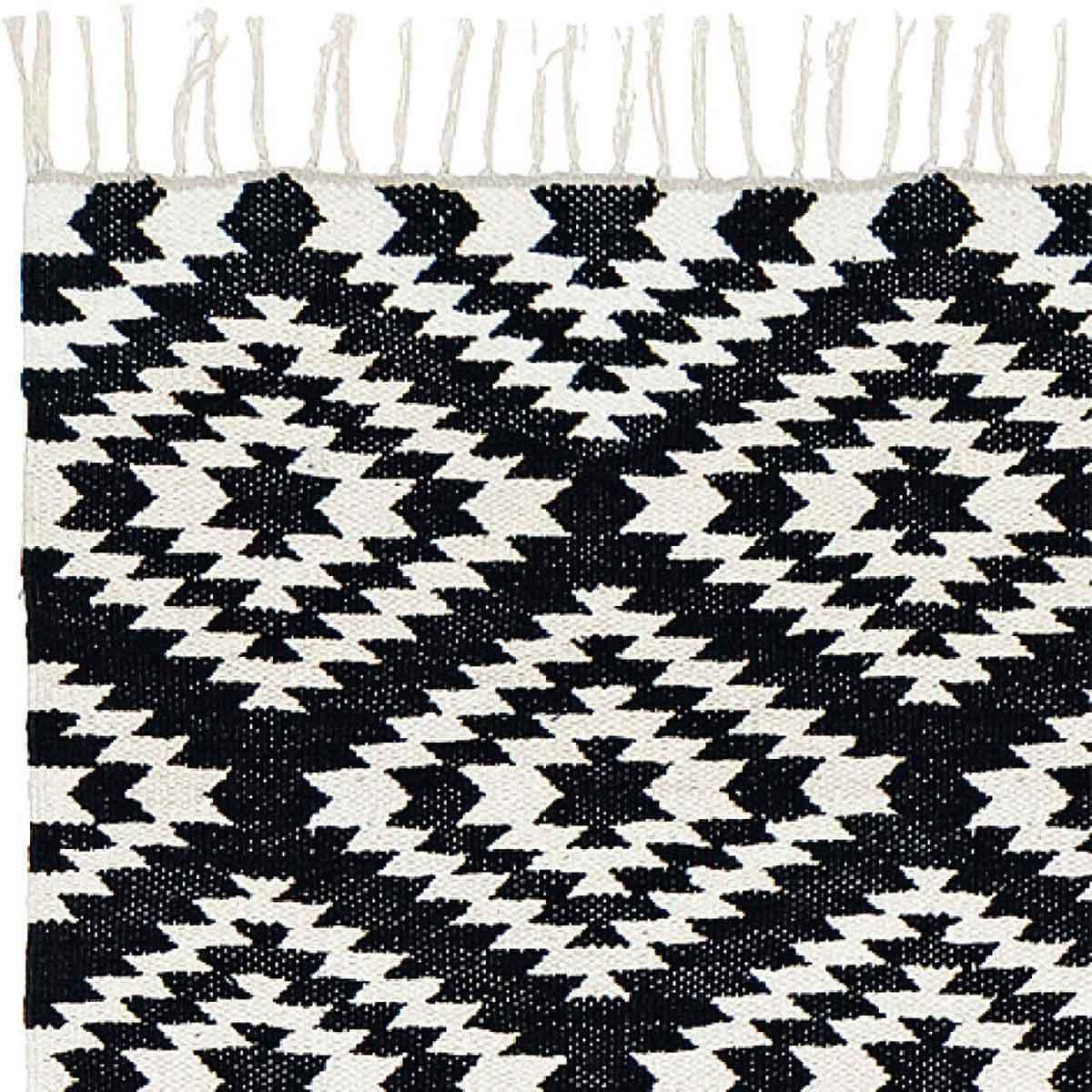 Liv Interior Baumwollteppich Teppich140 x 200 handgewebt schwarz weiß Franzen