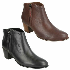 Ladies Clarks Maypearl Alice Mahogany Or Black Leather Ankle Boots