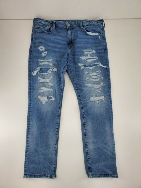 Mens American Eagle Flex Slim Destroyed Light Wash Jeans Size 38x30 (Meas 38x29)
